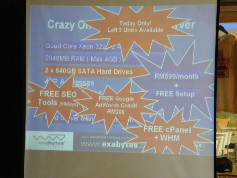 Exabytes Dedicated Server at 3rd WebmasterMalaysia Gathering