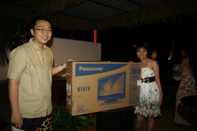 "Sau Hun with her second prize - 32"" LCD TV"