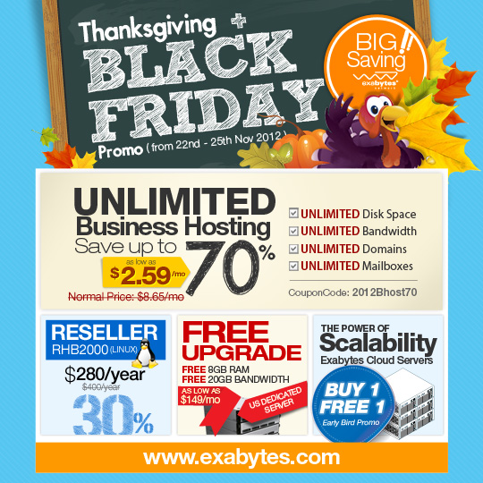 thanksgiving black friday 4 day 70 sale exabytes web hosting blog. Black Bedroom Furniture Sets. Home Design Ideas