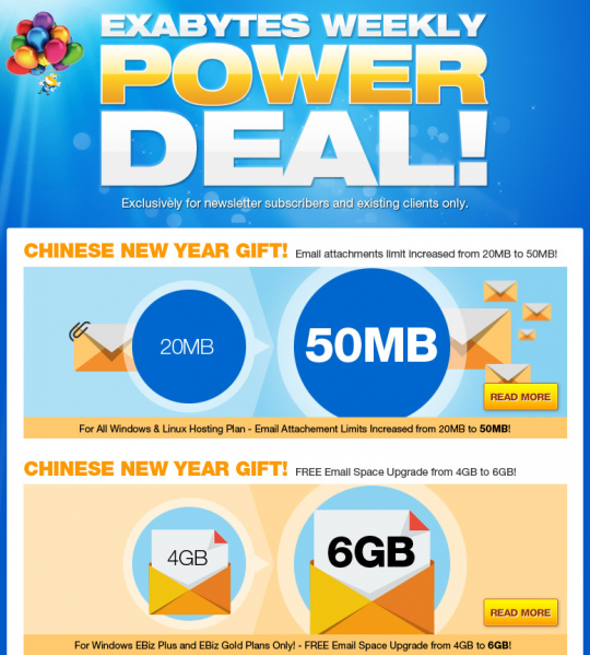 Exabytes Weekly Power Deal