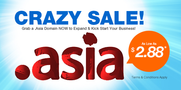 .Asia Domain Name crazy sale $2.88