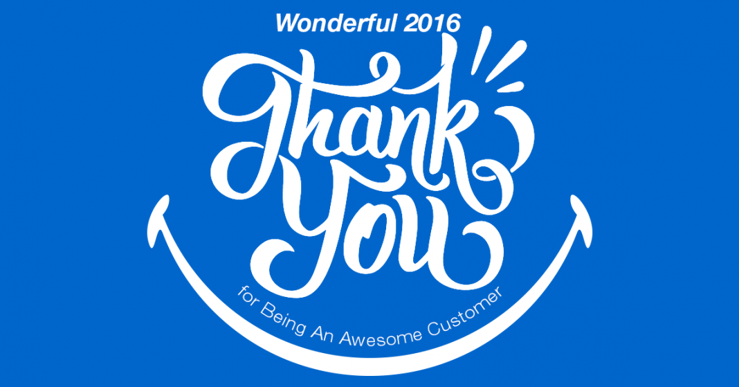 Wonderful 2016 Thank You Card