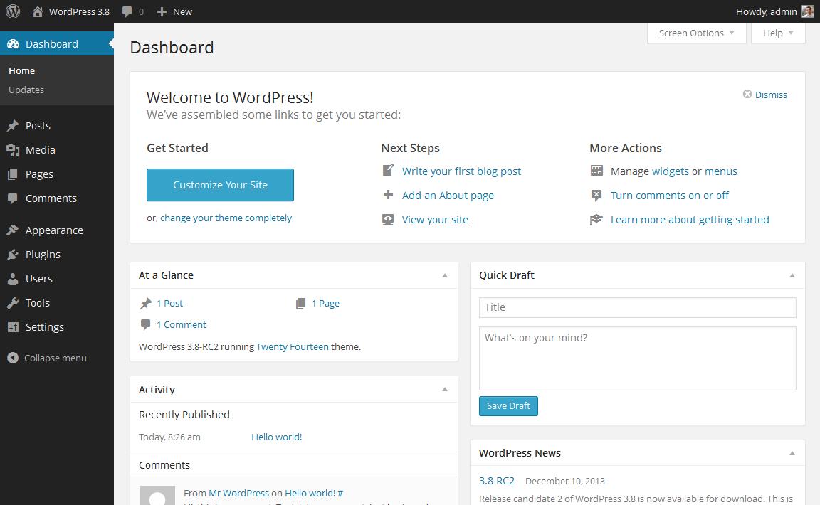 wordpress-default-dashboard