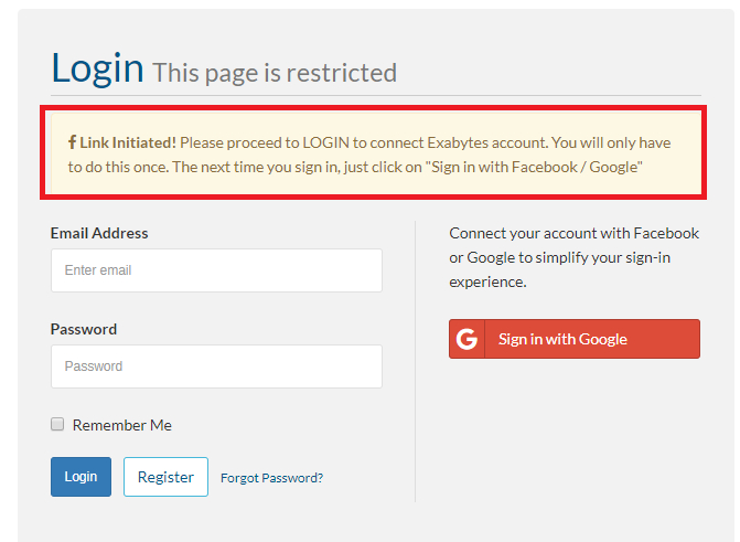 exabytes client login with google error message