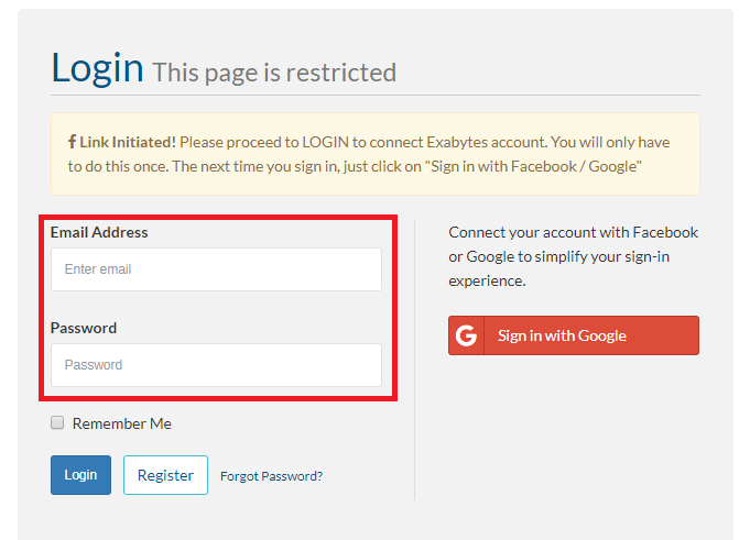 exabytes client login with google