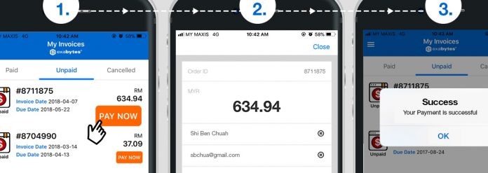 exabytes mobile app invoice payment