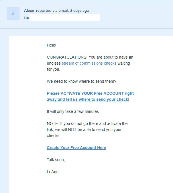 checksum scam email example