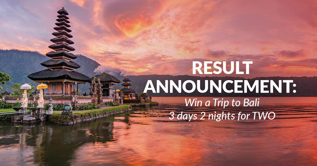 bali reward - winner announcement