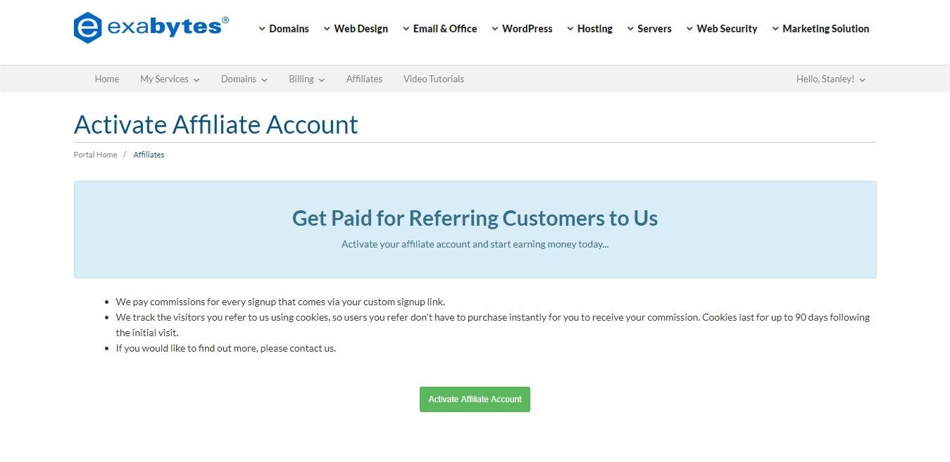 activate affiliate program