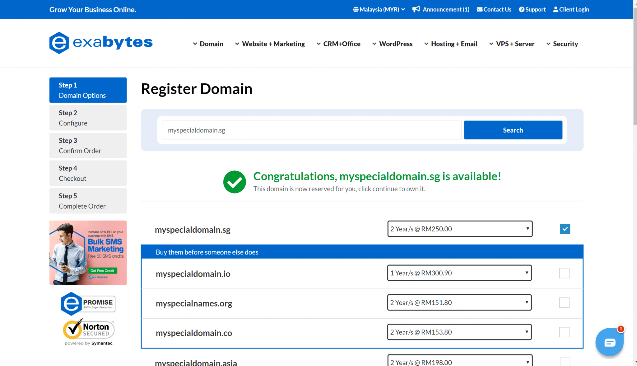 register domain step 1