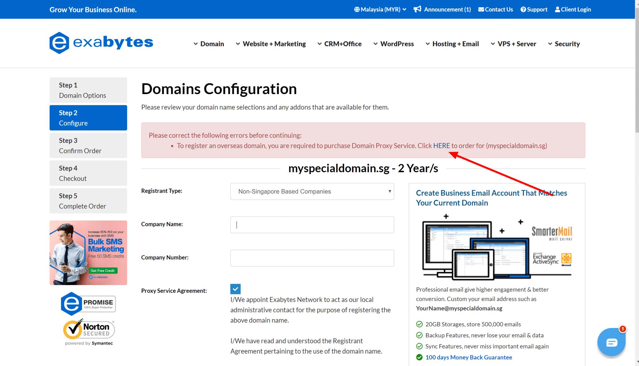 register domain step 3