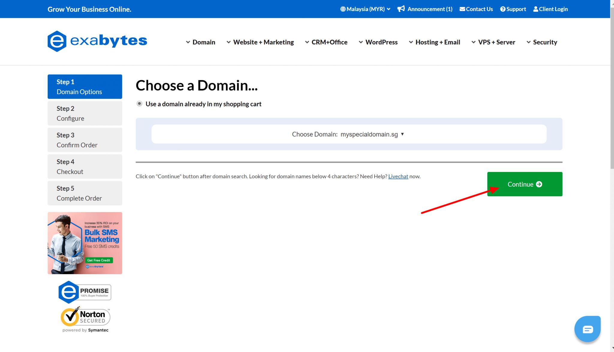 register domain step 4